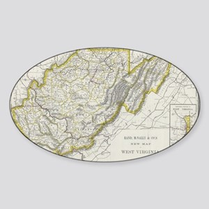 Vintage Map of West Virginia (1889) Sticker (Oval)