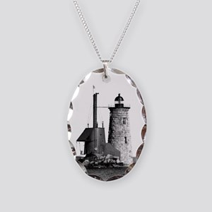 Whaleback Lighthouse Necklace Oval Charm