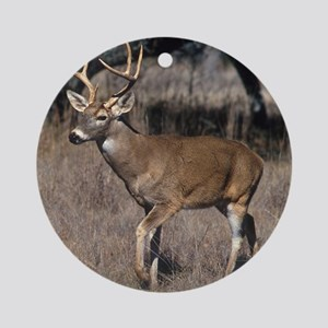 White Tail Deer Round Ornament