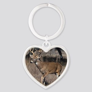 White Tail Deer Heart Keychain