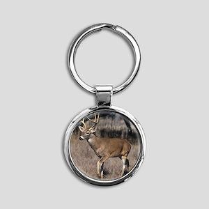 White Tail Deer Round Keychain