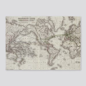 Vintage World Telegraph Lines Map ( 5'x7'Area Rug
