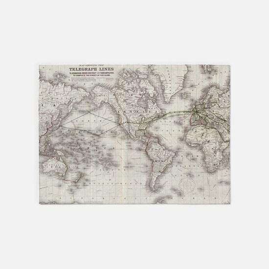 Vintage World Telegraph Lines Map ( 5'x7'Area Rug