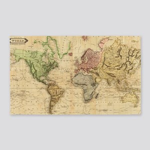 Vintage Map Of The World 1831 Area Rug