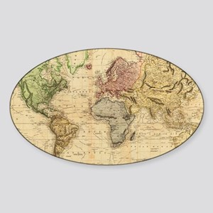 Vintage Map of The World (1831)  Sticker (Oval)