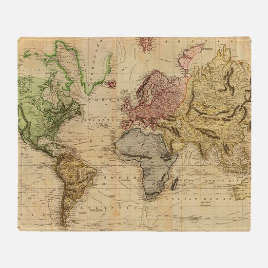 Antique world map throw blankets antique world map fleece blankets vintage map of the world 1831 throw blanket publicscrutiny Choice Image
