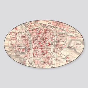 Vintage Map of Wurzburg Germany (19 Sticker (Oval)