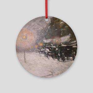 Winter, Midnight - Childe Hassam Round Ornament