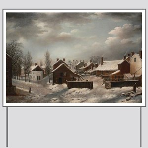 Winter Scene in Brooklyn - Francis Guy Yard Sign