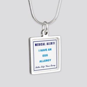 EGG ALLERGY Silver Square Necklace