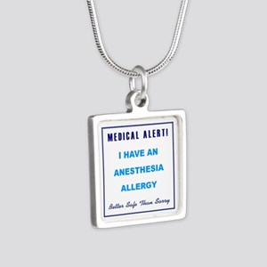 ANESTHESIA ALLERGY Silver Square Necklace