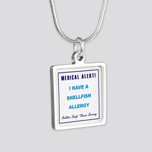SHELLFISH ALLERGY Silver Square Necklace