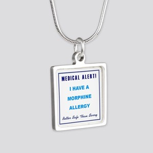 MORPHINE ALLERGY Silver Square Necklace