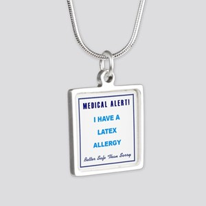 LATEX ALLERGY Silver Square Necklace
