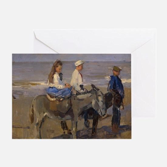 Boy and Girl Riding Donkeys - Isaac  Greeting Card