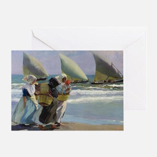 The Three Sails - Joaquin Sorolla Greeting Card