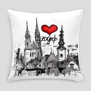 I love zagreb Everyday Pillow