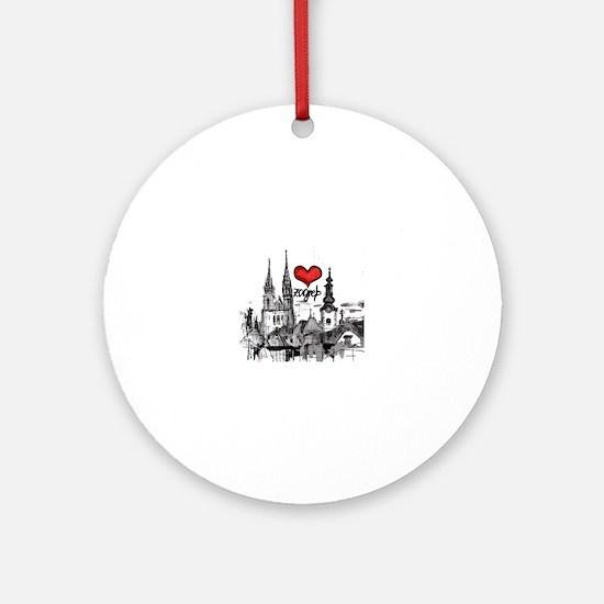 I love zagreb Round Ornament