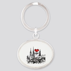 I love zagreb Oval Keychain