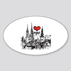 I love zagreb Sticker (Oval)