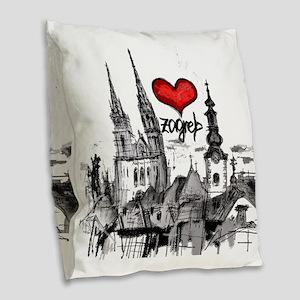 I love zagreb Burlap Throw Pillow