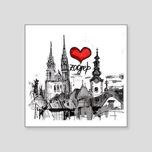 "I love zagreb Square Sticker 3"" x 3"""
