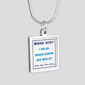 ORGAN DONOR Silver Square Necklace