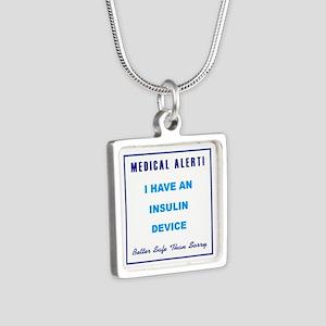 INSULIN DEVICE Silver Square Necklace