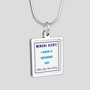 HEARING AID Silver Square Necklace