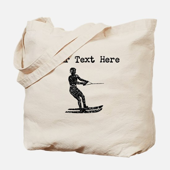 Distressed Water Skier Silhouette (Custom) Tote Ba