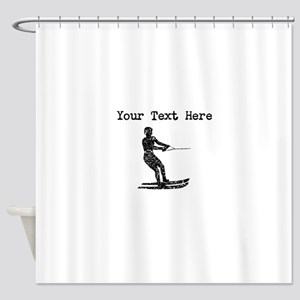 Distressed Water Skier Silhouette (Custom) Shower