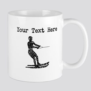 Distressed Water Skier Silhouette (Custom) Mugs