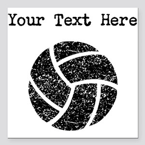 Distressed Volleyball (Custom) Square Car Magnet 3