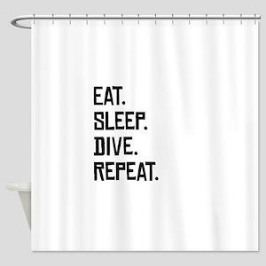 Eat Sleep Dive Repeat Shower Curtain