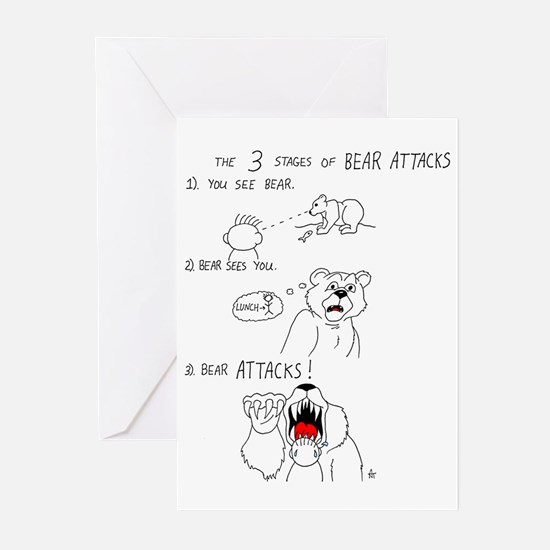 Bear Attacks Comic Greeting Cards (Pk of 10)