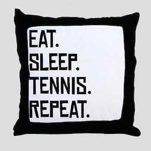 Eat Sleep Tennis Repeat Throw Pillow