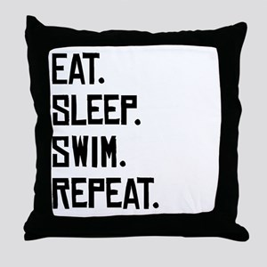Eat Sleep Swim Repeat Throw Pillow
