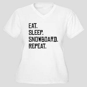 Eat Sleep Snowboard Repeat Plus Size T-Shirt