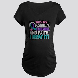 Thyroid Cancer Survivor Fam Maternity Dark T-Shirt