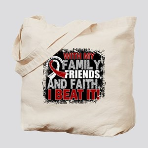 Throat Cancer Survivor FamilyFriendsFaith Tote Bag