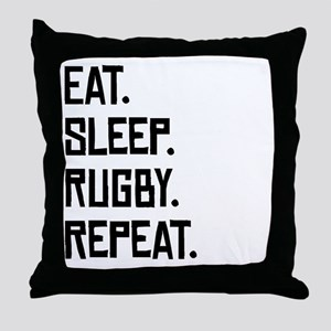 Eat Sleep Rugby Repeat Throw Pillow