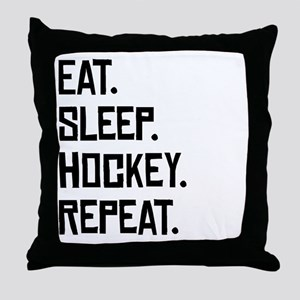 Eat Sleep Hockey Repeat Throw Pillow
