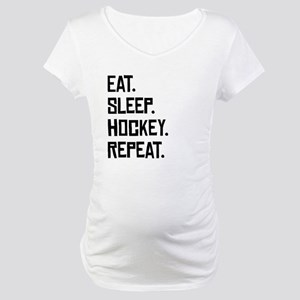 Eat Sleep Hockey Repeat Maternity T-Shirt