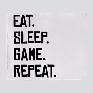 Eat Sleep Game Repeat Throw Blanket