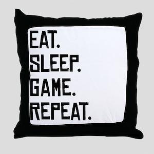 Eat Sleep Game Repeat Throw Pillow