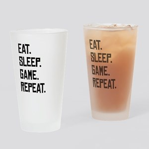 Eat Sleep Game Repeat Drinking Glass
