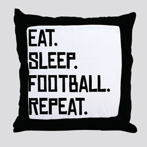 Eat Sleep Football Repeat Throw Pillow
