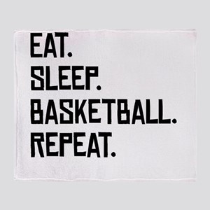 Eat Sleep Basketball Repeat Throw Blanket