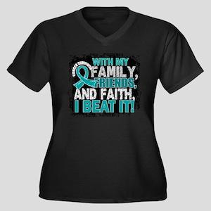 Ovarian Canc Women's Plus Size V-Neck Dark T-Shirt