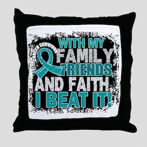 Ovarian Cancer Survivor FamilyFriends Throw Pillow